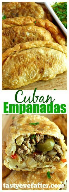 This is the BEST Cuban Empanadas recipe ever! So good with chimichurri sauce!This is the BEST Cuban Empanadas recipe ever! So good with chimichurri sauce! Comida Latina, Cuban Empanadas Recipe, Mexican Empanadas, Puerto Rican Empanadas, Mexican Sopes, Mexican Slaw, Mexican Easy, Gastronomia, Finger Foods