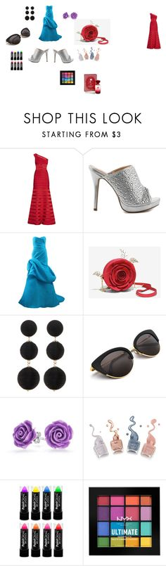 """""""ball gown with everything"""" by lydia-kelly-redwood on Polyvore featuring beauty, Hervé Léger, Lauren Lorraine, Monique Lhuillier, Cara Accessories, Bling Jewelry, NYX, Disney and gown"""
