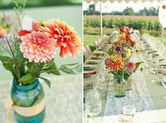 Lovely, lovely vibrant floral centerpieces! {KIM+PHIL Photography}