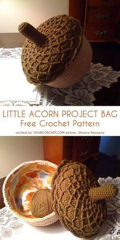 Little Acorn Project Bag Free Crochet Pattern - diiy amigurumi Crochet Pumpkin, Crochet Fall, Halloween Crochet, Holiday Crochet, Cute Crochet, Crochet Crafts, Crochet Toys, Crochet Projects, Crochet Baskets