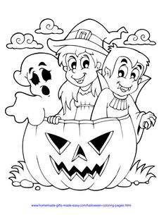Halloween Coloring Pages | Ghost, witch and vampire in huge pumpkin
