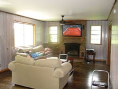 Just a Touch of Gray: Whitewash Treatment White Washed Wood Paneling, Wood Paneling Makeover, Kitchen Cabinets Before And After, Touch Of Gray, Whitewash Wood, Dark Walls, Cozy Cabin, Wooden Walls, Small Spaces