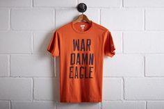 "Tailgate Auburn War Damn Eagle T-Shirt by  American Eagle Outfitters | Before football games, Auburn sends an eagle through Jordan-Hare stadium as 87,000 Tigers fans yell, ""War Eagle!"" Shop the Tailgate Auburn War Damn Eagle T-Shirt and check out more at AE.com."