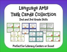 Language Arts Task Cards Collection - 136 cards for Scoot or literacy centers.