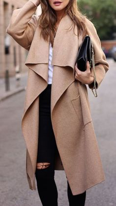 #fall #fashion / camel coat ripped denim