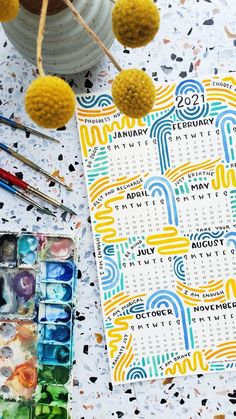"""**This is a DIGITAL CALENDAR, you will be sent the files to print after purchase**A colorful (and encouraging) way to keep track of 2021. This printable calendar is covered in colorful watercolor strokes, encouraging phrases and words to inspire selfcare.Download file includes:-One file to print an 8.5"""" x 11"""" calendar **This is a digital product, you will be sent the files to print after purchase** Refunds will NOT be granted to those who did not read the description and see that it's NOT a phys Bullet Journal School, Bullet Journal Month, Creating A Bullet Journal, Bullet Journal Cover Ideas, Bullet Journal Lettering Ideas, Bullet Journal Notebook, Bullet Journal Aesthetic, Bullet Journal Themes, Bullet Journal Spread"""