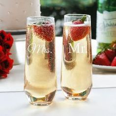 Stemless Champagne Toasting Flutes With their slim shape and contemporary stemless form, the Mr. Stemless Champagne Toasting Flutes feature a script Stemless Champagne Flutes, Wedding Champagne Flutes, Toasting Flutes, Champagne Glasses, Wedding Glasses, Champagne Toast, Personalized Champagne Flutes, Personalized Favors, Personalized Wedding