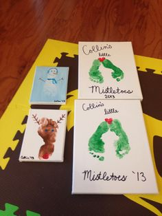 Christmas toddler crafts footprint reindeer snowmen and mistletoe