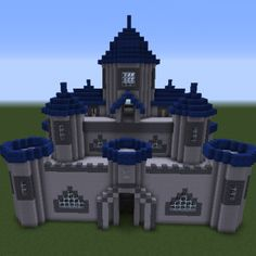 Castle With Blue Towers - GrabCraft - Your number one source for MineCraft buildings, blueprints, tips, ideas, floorplans! Minecraft Castle Walls, Minecraft Medieval Castle, Minecraft Castle Blueprints, Minecraft Mansion, Easy Minecraft Houses, Minecraft Plans, Minecraft House Designs, Amazing Minecraft, Minecraft Decorations