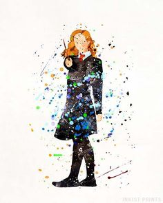 Hermione, Harry Potter Watercolor Wall Art Poster - Prices from $9.95 - Click Photo for Details - #HarryPotter#christmasgift#giftformom#wallart#walldecor #Hermione