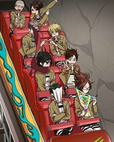 Levi is having A LOT of fun, Hanji doesn't care, Mikasa only cares about Eren, Eren posed like this the whole way, you cant even see Jean exept his heart, I'm too scared but I still do an heart because YOLO, Connie is just being Connie and Sasha is eating...again.