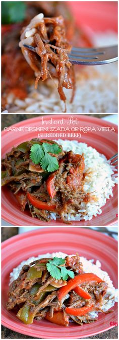 Make this easy Nicaraguan-inspired Instant Pot Carne Desmenuzada or Ropa Vieja (Shredded Beef) any day of the week in under 15 minutes! Get the recipe at CleverlyMe.com