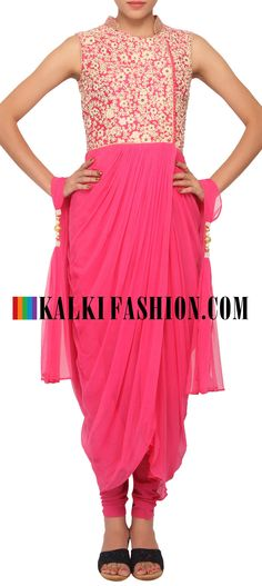 Buy Online from the link below. We ship worldwide (Free Shipping over US$100) http://www.kalkifashion.com/pink-coloured-dhoti-style-salwar-suit-with-dupatta-only-on-kalki.html