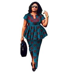 2018 Summer African Dashiki for women o-neck Skirt Set natural Bazin riche african fashion clothing cotton Plus Size BRW Latest African Fashion Dresses, African Dresses For Women, African Print Fashion, Africa Fashion, African Attire, African Wear, African Suits, African Blouses, African Dashiki