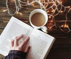Book, coffee, Christmas lights...perfection