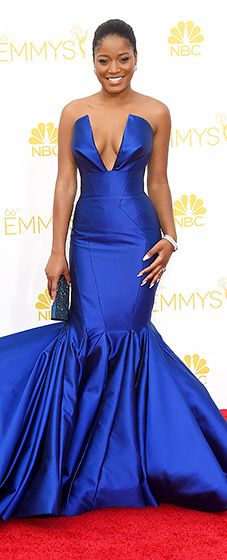Keke Palmer chose a cobalt blue strapless gown by Rubin Singer for the 2014 Emmys.