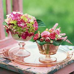 Display pretty flowers in pink Depression glass compotes. Choose matching colors or play with contrasting blooms. One bunch of big leaf hydrangea is the perfect size for a taller dessert bowl. Pink begonias and astilbe fill the other. Pink Wedding Centerpieces, Glass Centerpieces, Reception Decorations, Centerpiece Ideas, Centrepieces, Flower Decorations, Spring Wedding Inspiration, Wedding Ideas, Pink Depression Glass