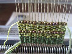 Weaving with beads Weaving Textiles, Weaving Patterns, Tapestry Weaving, Loom Weaving, Peg Loom, Micro Macramé, Brass Cuff, Weaving Projects, Woven Bracelets