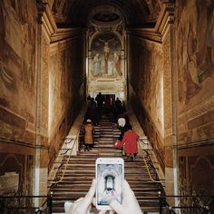 """Every day in the sanctuary of the """"Scala Santa"""" in San Giovanni in Laterano in #Rome many people climb the stairs on their knees to ask God's forgiveness.   #WHPtraditions"""