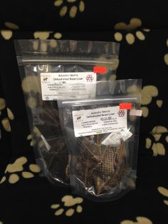 Our Bison treats. So far we only offer Bison liver. Available in bulk or bagged, small or large bags.