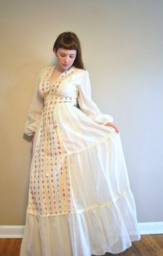 vintage gunne sax wedding dress / 70s corset dress / boho hippie wedding dress on Etsy, $83.00