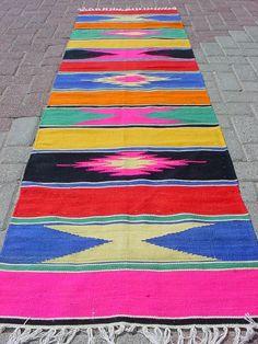 "Modern Bohemian Home Decor/ Vintage Handwoven Wool Turkish Runner Kilim, Area Rug Carpet 25,6"" X 91,7"""