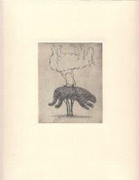 #16 Topiary & Child with Creature Held Aloft Edward Gorey Etchings | edwardgoreyhouse