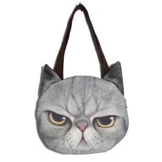 Women Cute Cat Face Handbag Shopping Bags Cat Pattern Shoulder Bag