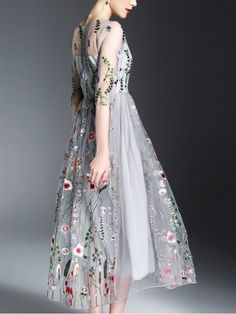 Shop - Grey Mesh Paneled Embroidered Floral Midi Dress on Metisu.com. Discover stylish and vogue women's dresses for the season. Regular discounts up to 60% off.