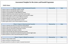 Assessment Template for the Letters and Sounds Programme