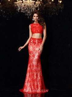 red two piece lace prom dresses