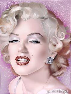Digital painting of Marilyn Monroe by K. Fairbanks. View addtional Marilyn art by K. Fairbanks here on Pinterest or at  http://www.behance.net/kfairbanks or http://kfairbanks.deviantart.com/     This image first pinned to Marilyn Monroe Art board, here: http://pinterest.com/fairbanksgrafix/marilyn-monroe-art/    #Art #MarilynMonroe