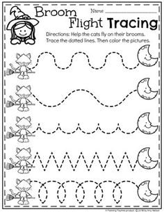 Broom Flight Tracing - Preschool Halloween Worksheets Looking for fun Preschool Halloween Activities? This set of fun Hands-on Centers and Printables are the perfect addition to your Preschool Halloween Theme. Halloween Theme Preschool, Halloween Worksheets, Halloween School Treats, Halloween Activities For Kids, Fall Preschool, Halloween Themes, Preschool Writing, Preschool Learning Activities, Halloween