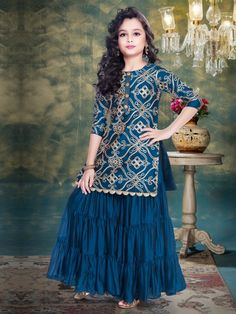 Buy 1 to 16 year Kids Salwar Kameez Online. Shop Online salwar kameez for kids in Dhoti, Palazzo, Anarkali style. Best Children salwar kameez collection for wedding, party, festival wear. Girls Frock Design, Kids Frocks Design, Baby Dress Design, Baby Girl Frocks, Frocks For Girls, Dresses Kids Girl, Pakistani Kids Dresses, Kids Blouse Designs, Kids Party Wear