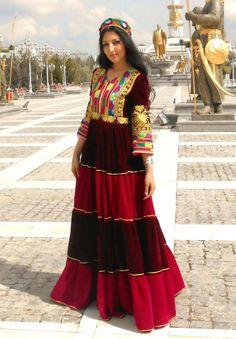 Seeta Qaseemi presenting Uzbek Afghan dress.