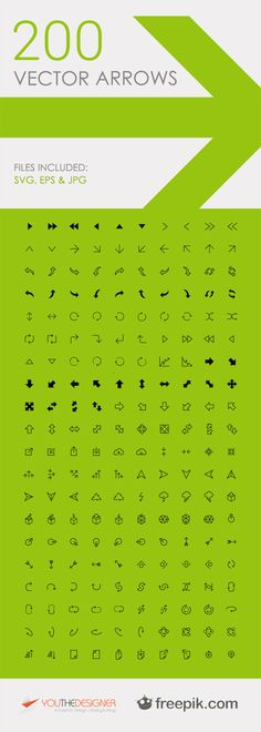 Freebie Pack: 200 Free Vector Arrow Icons - handy resource for web icons Design Web, Tool Design, Free Design, Design Ideas, Le Web, Grafik Design, Interface Design, Graphic Design Inspiration, Planer