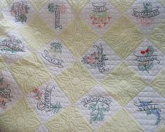 48 States Vintage Antique Hand Embroidered Amish by vintalgic, $700.00