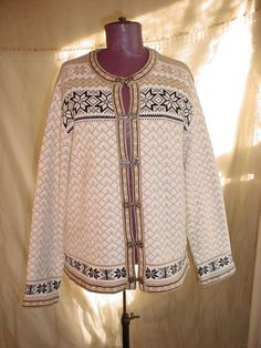 Croft and Barrow Norwegian Style Cardigan Sweater size Medium White Tan Black #CroftBarrow #Cardigan Seller florasgarden on ebay
