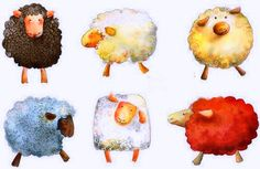 Brightly coloured sheep by Claudia Degliuomini Watercolor Animals, Watercolor Paintings, Watercolors, Sheep Drawing, Sheep Illustration, Sheep Art, Sheep And Lamb, Whimsical Art, Painting Inspiration