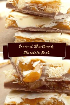 This caramel shortbread chocolate bark recipe is a simple no bake candy with gooey caramel, rich spelt shortbread and both white and milk chocolate. Candy Recipes, Sweet Recipes, Cookie Recipes, Baking Recipes, Xmas Recipes, Baking Ideas, Caramel Shortbread, Shortbread Recipes, Köstliche Desserts
