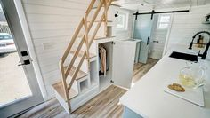 """24' """"Ocracoke"""" Tiny House on Wheels by Modern Tiny Living  Tiny House Movement // Tiny Living // Tiny House Storage // Tiny Home Stairs // #TinyHouseonWheels #Architecture #Homedecor #TinyHome"""