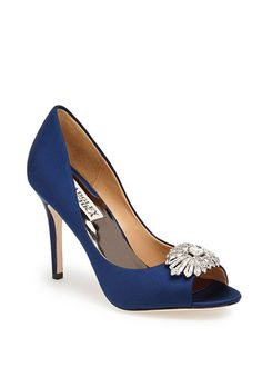 A classic @badgleymischka open-toe wedding pump | Brides.com