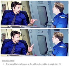 """""""Steve, did I ever tell you about the time I revealed my secret identity?"""" """"Yes Tony, about a million-"""" """"Hoo boy, did the press sure go crazy. I was the new big 'thing'."""" """"Suurree Tony. That's greeeaaattt."""""""