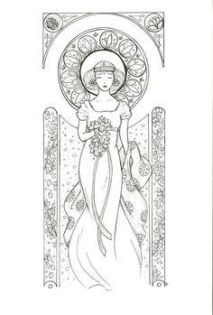 Femme art nouveau - style Mucha - print - reproduction : Dessins par cross-the-line