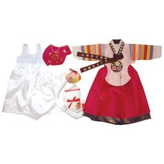 Light Pink and Dark Pink with Gold Stamping - Girl Dol Hanbok Set - 7 Pieces