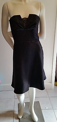 White-House-Black-Market-Black-Strapless-Satin-Dress-Lace-Inset-Size-2