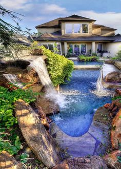 A swimming pool is one of the favorite places to refresh our mind. It is no wonder that people will seek the resort with modern and luxurious swimming pool to spend their vacation. A nice swimming pool design will require . Swimming Pool House, Luxury Swimming Pools, Luxury Pools, Dream Pools, Swimming Pool Designs, Backyard Pool Landscaping, Ponds Backyard, Patio, Landscaping Ideas