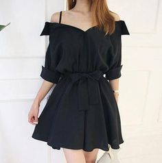 Black Off-the-shoulder Flare Dress from KOSMUI - Black Off-the-shoulder Flare Dress · KOSMUI · Online Store Powered by Storenvy Source by graciaantonogta - Teen Fashion Outfits, Mode Outfits, Girly Outfits, Cute Casual Outfits, Cute Fashion, Pretty Outfits, Stylish Outfits, Fashion Dresses, Fashion Boots