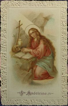 Antique French Lace Holy Card ... St. Maria Magdalena