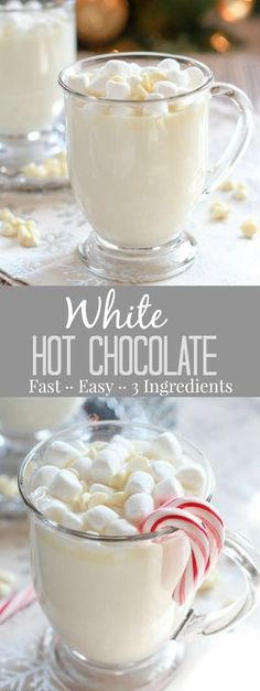 Hot Chocolate - A simple recipe for sweet and creamy homemade white hot chocolate that is ready in minutes!White Hot Chocolate - A simple recipe for sweet and creamy homemade white hot chocolate that is ready in minutes! Hot Chocolate Bars, Hot Chocolate Recipes, Chocolate Smoothies, Chocolate Shakeology, Chocolate Snacks, Chocolate Chocolate, Chocolate Crinkles, Recipe For White Hot Chocolate, Homemade Hot Chocolate